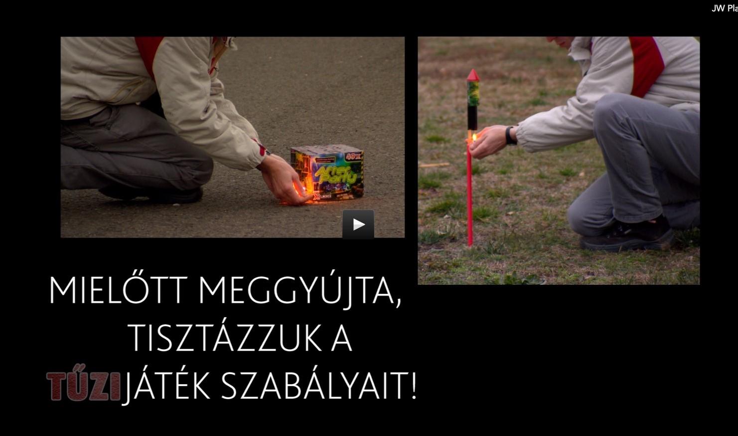 Pirotechnikai termékek használatával kapcsolatos figyelemfelhívó kisfilm című videó előképe