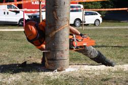 A döntés versenyszámot teljesítő favágó a fa törzsén ejt vágást